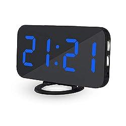 ESUN Alarm Clock,Dual USB fast charging ports,6.2LED Ultra-thin mirror large screen,Automatic light sensor brightness adjustment,Sn function, Desktop wall clock,Bedrooms,Hotels (Black section-Blue)