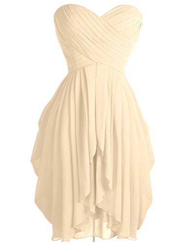 FEESHOW Junior's Party Chiffon Dresses Strapless Sweetheart Lace Up Back Dresses Prom Homecoming Dresses Apricot 10