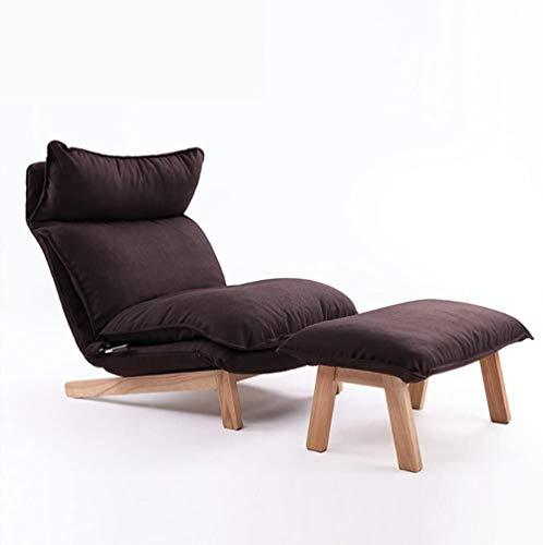REWD Lazy Chair, Respaldo Lazy Sofa Estilo Europeo Habitación Individual Cama reclinable Respaldo Silla Floor Sofá Silla Marrón Oscuro