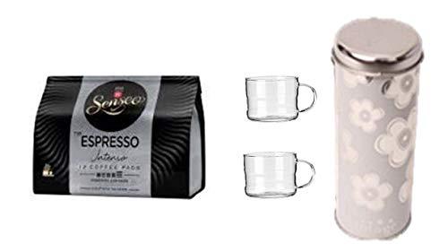 Senseo Espresso Intenso + Geschenkeset Pad Dosen Deko mit 2 Glastassen mit Henkel passend für Padmaschinen