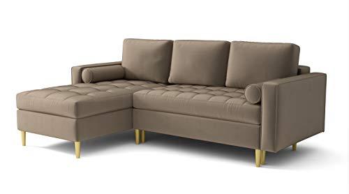 Ecksofa Moris Sofa mit Schlaffunktion l-Form Velours Samt Farbauswahl (Links, beige)