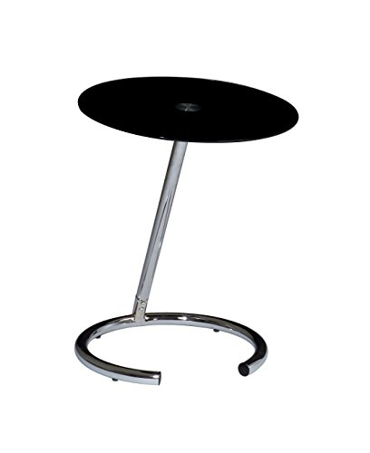 OSP Home Furnishings Yield Modern Telephone Table with Chromed Steel Base, Black Glass Top
