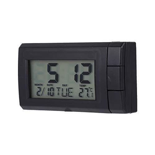Wakauto Mini Auto Elektronische Uhr Thermometer Uhr LED Armaturenbrett Wecker Leuchtende Fahrzeug Digitaluhr Datum Zeit Kalender Anzeige für Autos Home Desk Office (Schwarz)