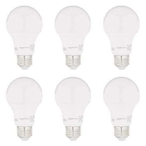 AmazonBasics 60W Equivalent, Soft White, Non-Dimmable, 15,000 Hour Lifetime, CEC Compliant, A19 LED Light Bulbs | 6-Pack