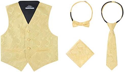 Boys 4 Piece Formal Paisley Vest Tie Set Gold 16 product image