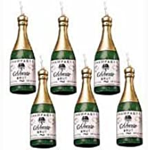 Mini Champagne Bottle Candles - 6/Pack