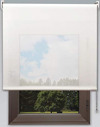 Decorestor Estor Translucido Vision Premium. Anchos de 40 a 280cm. Luz e intimidad Durante el Dia. Color Blanco. Stores Enrollables para Ventanas y Puertas