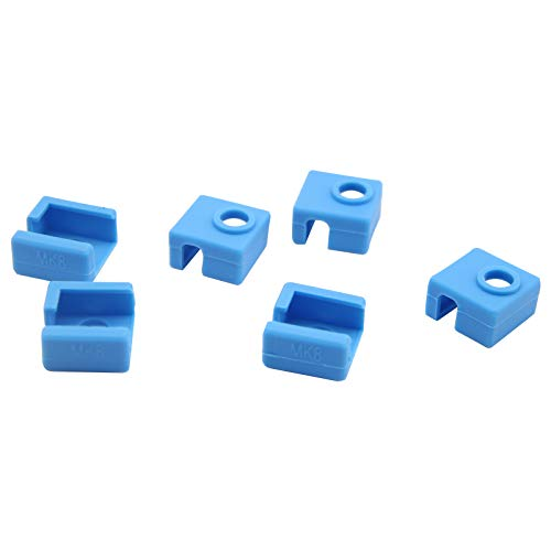 3D Printer Silicone Sock 3D Printer Heater Block Cover, Blue, Pack of 6, Replacement for Creality CR-10, S4, S5, Anet A8, MK7 MK8 MK9 3D Printer Hotend Extruder