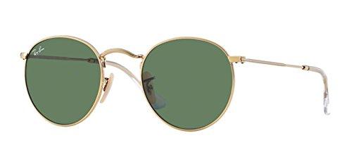 Ray-Ban Oro Verde clásico del G-15 de 50 mm redondo del metal RB3447 Gafas de sol redondas