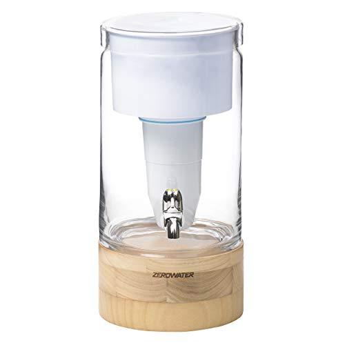 ZeroWater Dispensador de Agua Filtrada de 5,4 litros de Cristal, Medidor de Calidad de Agua Gratis, Libre de BPA y Certificado para Reducir el Plomo y Otros Metales Pesados, Cartucho Filtro Incluido
