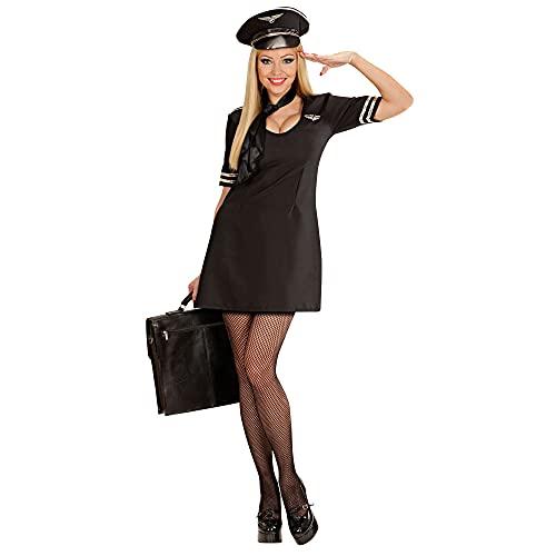 Widmann 77111 - Damen Kostüm Pilotin, Kleid mit Halstuch und Hut, Größe S