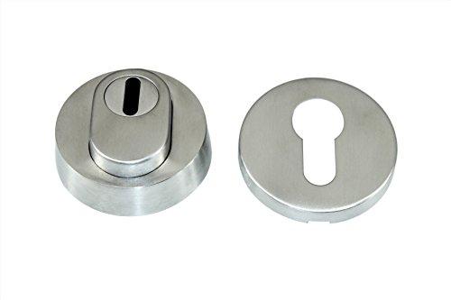 Hoppe Schutzrosette Haustür Set mit verstellbaren Kernziehschutz Silber F1-2