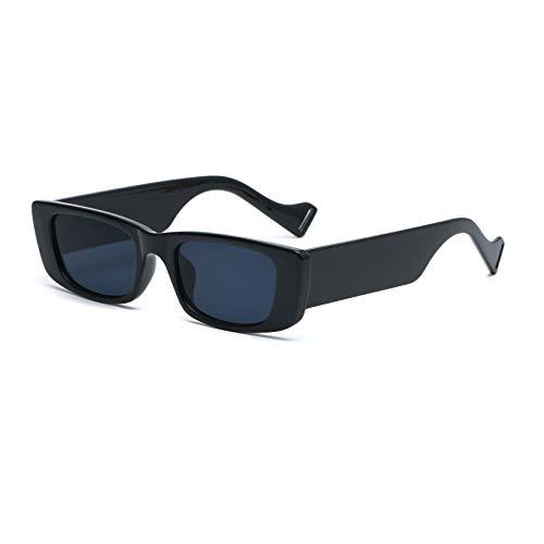 Long Keeper Occhiali da Sole Rettangolari Occhiali Vintage a Quadrati da Donna Uomo UV400 Protezione (Nera)