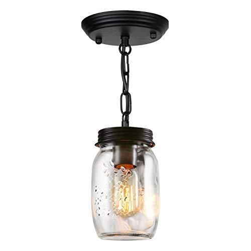 ZPKelin ZP-C009 Glass Pendant 1-Light for Modern Kitchen Island Bedroom Living-Room, 5, Transparent