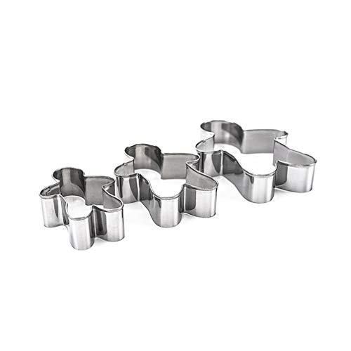 Ndier Moldes de acero inoxidable para galletas de jengibre con diseño de hombre de jengibre duradero y herramientas para hornear 3 piezas