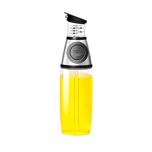 SMEJS Dispensador de Botella de Aceite de Prensa cuantitativo 500 ml Contenedor de condimento de Acero de Vidrio medible para la Cocina Herramientas de Cocina (Color : B, Size : Small)