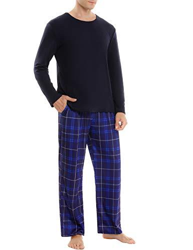 Aibrou Herren Schlafanzug Zweiteiliger Lang Pyjama Set, Nachtwäsche Hausanzug Freizeitanzug Langarm Shirt und Pyjamahose Weich Aus Baumwolle Stil 2:Marineblau M