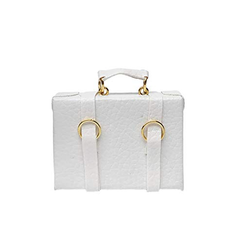 Yiifunglong Dollhouse Miniature Packing Bags High Simulation Scenery Accessory Faux Leather Vintage Suitcase Mini Dollhouse Luggage Box for Photo Props - White