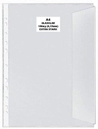100x A4 Dokumentenhülle GLASKLAR GLATT Prospekthülle mit Klappe 150my extra Stark DOKUMENTENECHT, RECYCELBAR