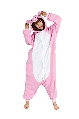 dressfan Unisex Adult Kinder Tier Pyjamas Pink Schwein Cosplay Kostüm