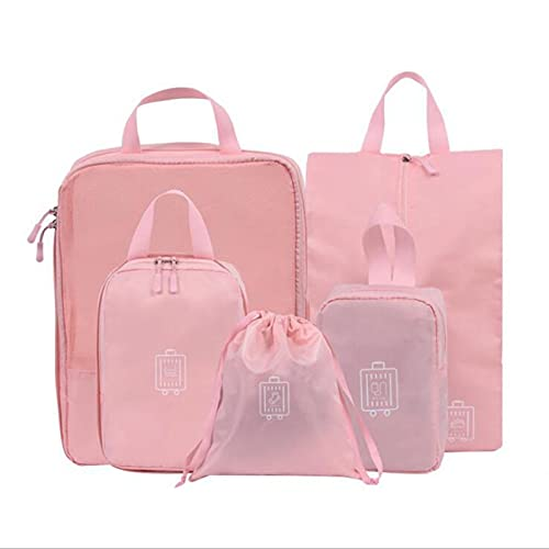xiaofeng214 Travel Storage Bag,waterproof 5pcs Sets Travel Storage Bag Organizer Luggage Compression Pouches Packing Cubes Organisers (Color : Pink)