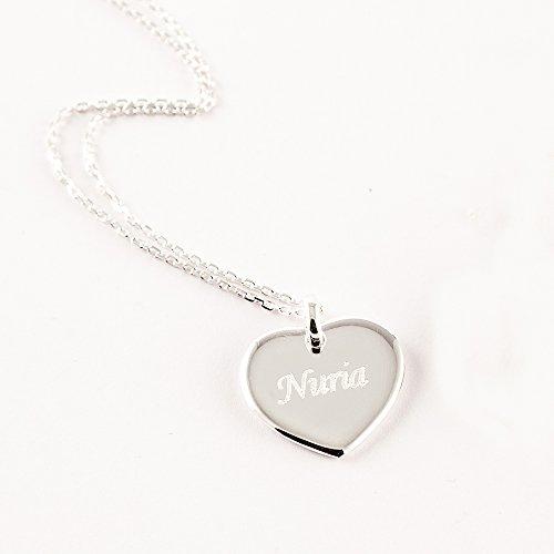 Calledelregalo San Valentín, cumpleaños o Navidad. Joya Personalizada para tu Pareja o para tu Madre: Colgante de corazón Grabado en Plata