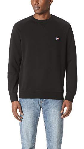 Maison Kitsune Men's Tricolor Fox Patch Sweatshirt, Black, Small