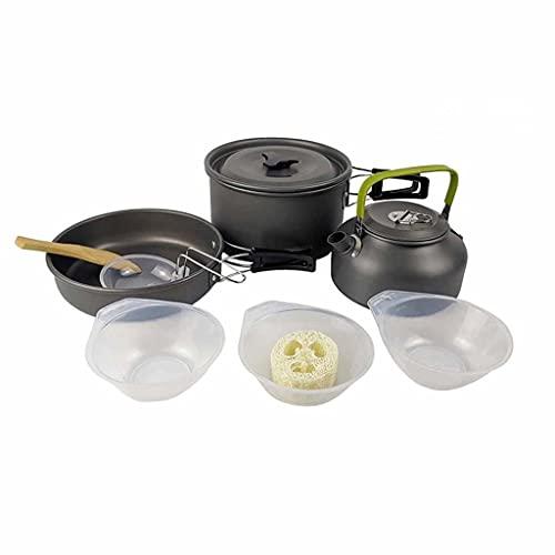 CIJTLO Camping Kit de utensilios de cocina Aluminio Utensilios de cocina Conjunto Hervidor de agua Poder BARBACOA Equipo de picnic de viaje Suministros de cocinero al aire libre (Color : C)