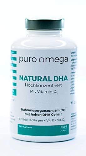 puroomega Natural DHA + Vitamin D3-240 hochdosierte Fischöl-Kapseln aus Sardinen und Anchovis I Unterstützt die Gehirn- und Herzfunktion I Omega 3 Nahrungsergänzung mit Vitamin E D3 Kollagen