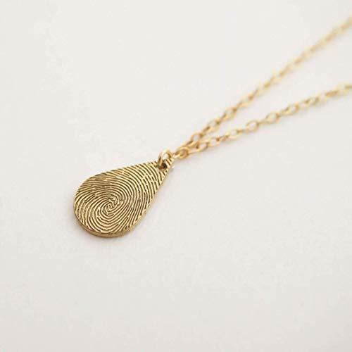 Tiny Teardrop Fingerprint 18k Gold Rose Gold 925 Sterling Silver Necklace Dainty Fingerprint Pendant Loved One's Fingerprints Jewelry Memorial Gifts Mother's Gift