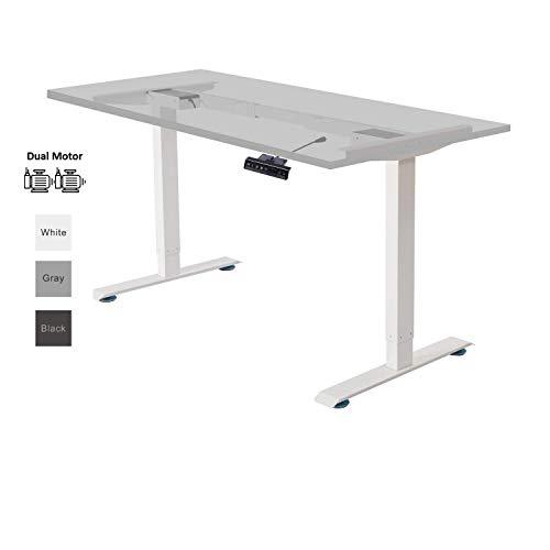 ALLDREI höhenverstellbarer Schreibtisch elektrisch stufenlos höhenverstellbarer Tisch Mit Speicher-Steuerung und Erinnerungsfunktion, 2 Motoren, 2-Fach-Teleskop (Weiß)