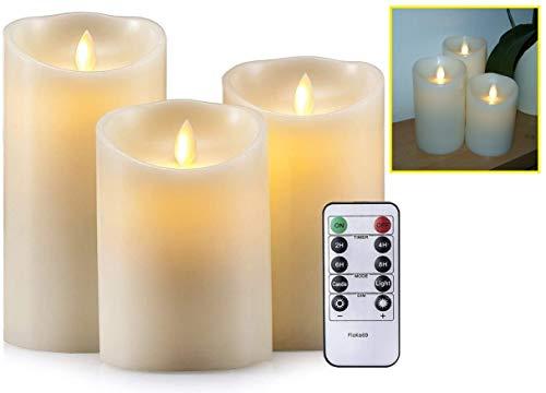 FloKa69® flikkerende LED-kaarsen | echte waskaarsen set van 3, ivoor | Realistische, vlamloze en bewegende vlam | Afstandsbediening met timer | Maten: 15cm, 12,5cm, 10cm en ø 7,5cm