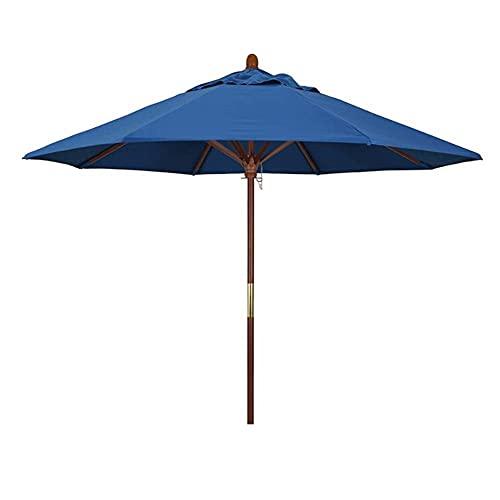 Riyyow Paraguas Parasol al Aire Libre Paraguas, jardín con Clase Patio Trasero Oasis Market Mese Table Soport For Yard Beach Viajes, Marrón/Azul/Azul Oscuro (Color : Blue, Size : 9ft)