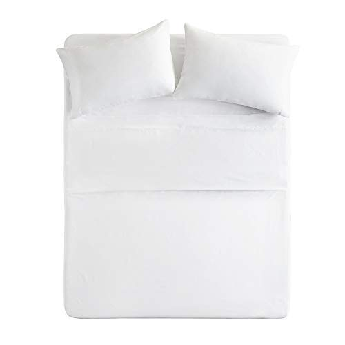Comfort Spaces Ultra Soft Hypoallergenic Microfiber 6 Piece Set, Wrinkle Fade Resistant Sheets with Pillow Cases Bedding, Queen, White