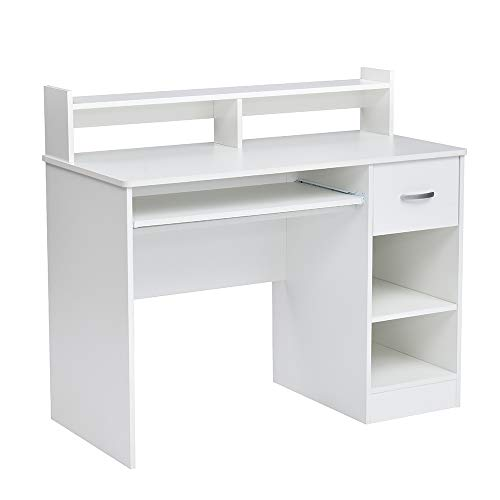 ROCKPOINT Axess Desk with Keyboard Tray , White