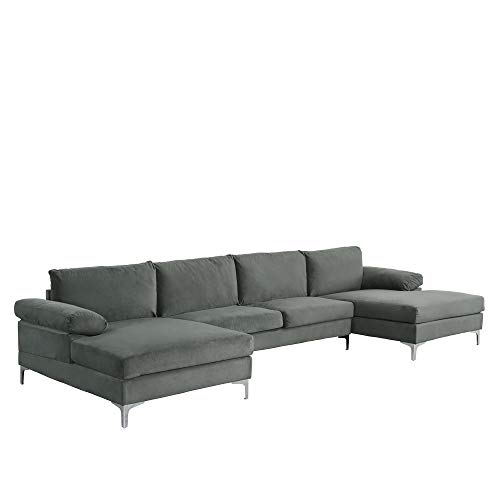 Casa AndreaMilano Modern Large Velvet Fabric U-Shape Sectional Sofa, Double Extra Wide Chaise Lounge Couch, Grey