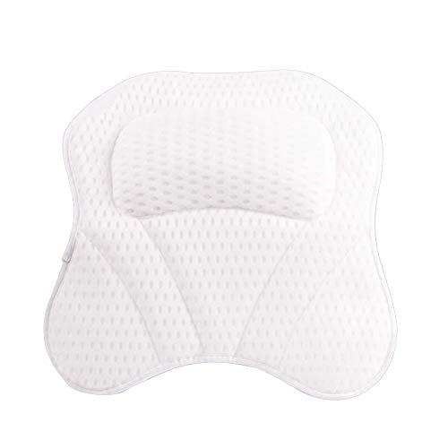 Gebuter Bath Pillow 3D Mesh Bathtub Pillow with 6 Suction Cups 1 Hook for Bathing Bathroom Pillow