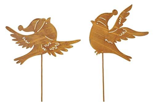 2 teilig Rostoptik Vögel mit Mütze auf Stab 50 cm Winter Garten Dekoration