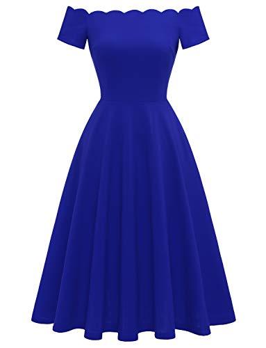 Dressystar 0066 Damen Schulterfrei Abendkleid A-Line Elegant Retro Brautjungfernkleid Royalblau S