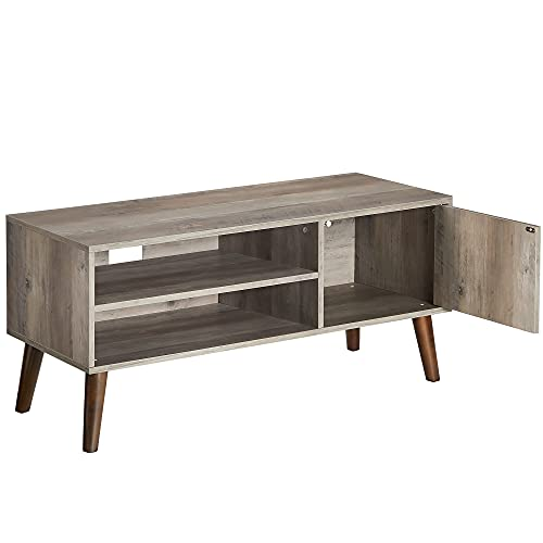 VASAGLE TV Stand, TV Cabinet for TVs up to 43 Inches, Mid-Century Modern TV Console Entertainment Center for Living Room, Bedroom, Lounge, Greige ULTV009M01