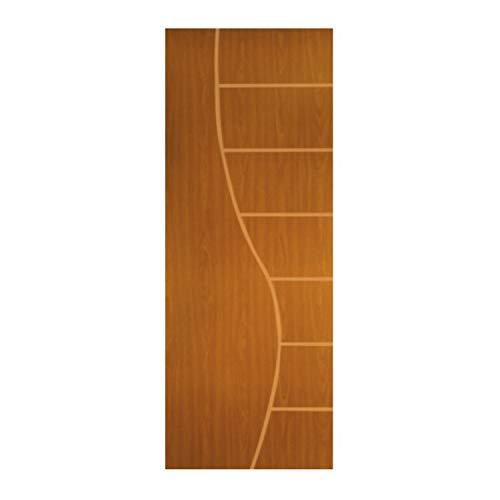 Porta de Madeira Frisada Cantareira MGM 210cmx80cm Melamínico Mogno
