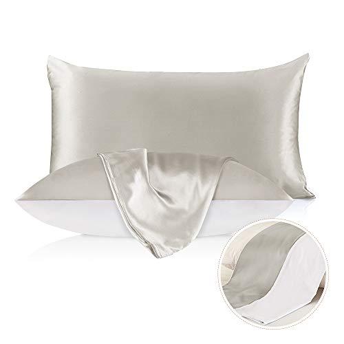LilySilk Seide Kissenbezug Kissenhülle Uni Unterseite von Baumwolle mit Reißverschluss 1 Stück Wende Kissen in Schachtelverpackung Silbergrau 80x80cm Verpackung MEHRWEG