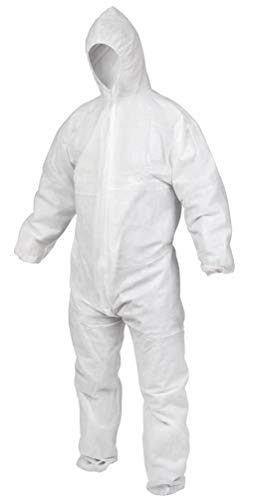 AMZ Anti-Static Fabric Coverall. White Adult Polypropylene Coverall 5X-Large. Attached Hood, Zipper Front Entry, Elastic Wrists, Elastic Ankles Great for Bloodborne Pathogens, Liquids