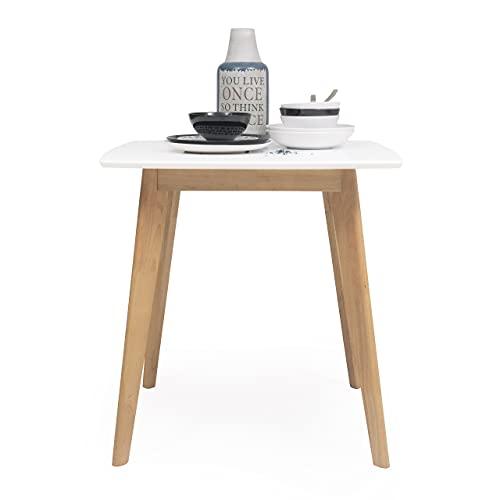 Mesa de Comedor o Cocina de diseño nórdico MELAKA sobre Lacado Blanco Fijo (NO Extensible) de 75x75 cm y Patas de Madera de Roble
