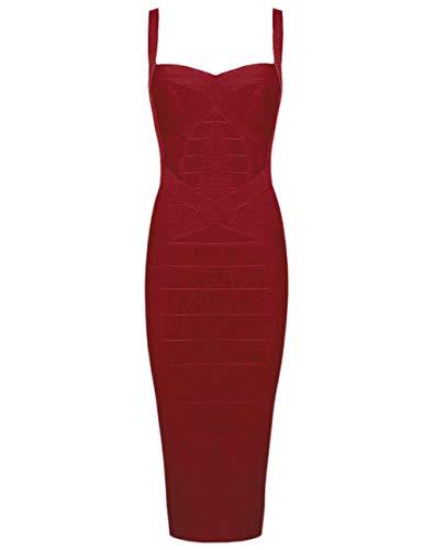 whoinshop Women's Rayon Strap Celebrity Midi Evening Party Bandage Dress Wine L