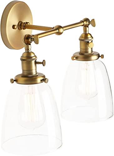 Accesorios de Luces de Pared Dobles industriales Vintage, Loft Cafe Bar Cocina Interruptor Aplique de Pared Lámparas Lámparas, Pantalla de Vidrio Transparente, E27