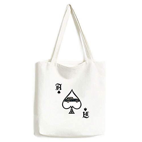 Sac à main noir classique motif voitures Silhouette de poker bêche lavable