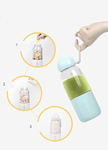 Tragbare Mini Blender 4pcs Klingen Entsafter Tasse USB 350 ML Smoothie Personal Mixer für Obst Babynahrung Milchshakes mit Deckel Obst Mixer (Blue)