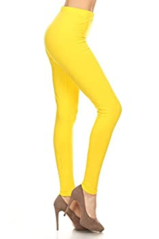 NCL32-Yellow-L Cotton Spandex Solid Leggings Large