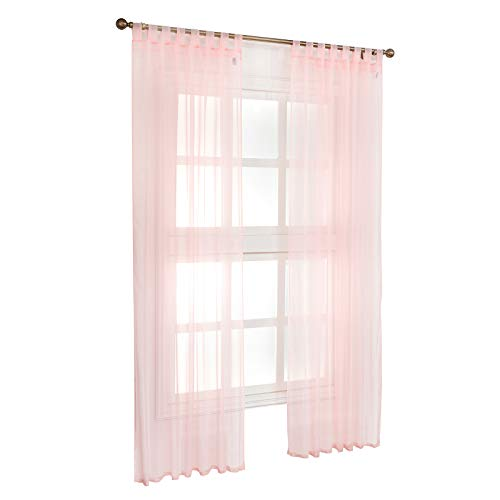 Laneetal Woven Voile Sheer Curtains Tab Top Bedroom Living Room Window Curtains in Pink 2 Panels W55 x L89 Inch